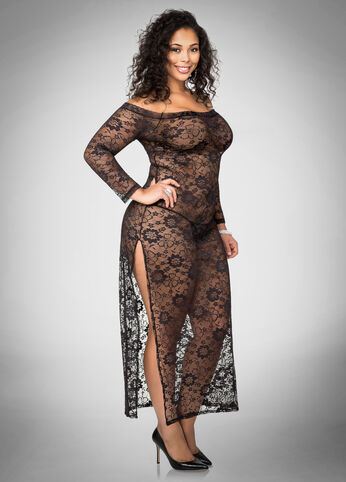 Sheer Lace Maxi Lingerie Set