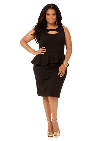 Textured Peekaboo Peplum Dress