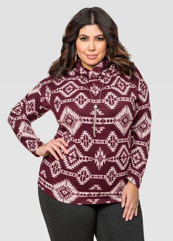 Aztec Print Turtleneck Top