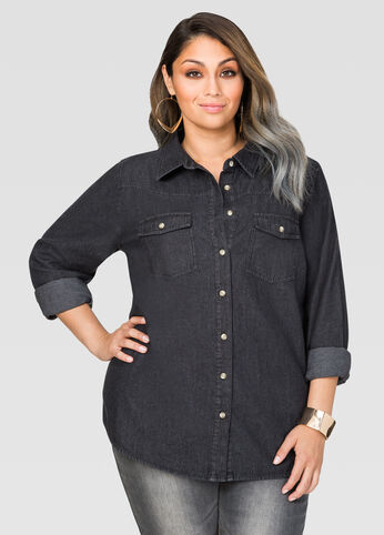 Black Wash Denim Shirt