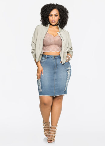 Ripped Jean Pencil Skirt