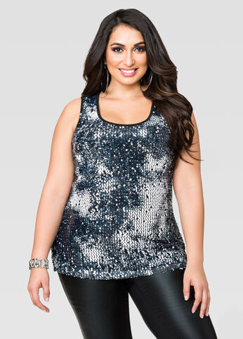 Marbled Sequin Tank Top