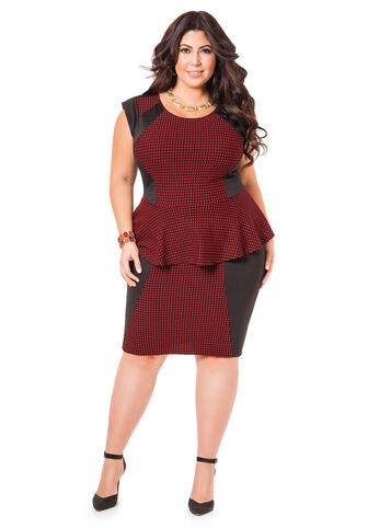 Checkered Peplum Dress