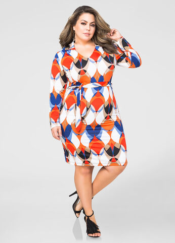 Belted Geo Dot Dress
