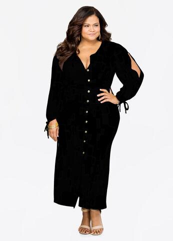 Slit Sleeve Button Front Maxi Dress