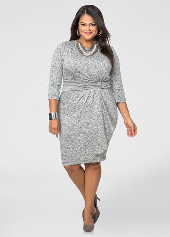 Ruffle Front Marled Sweater Dress