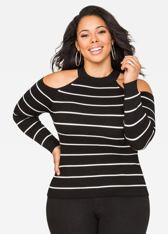 Striped Mock Neck Cold Shoulder Sweater