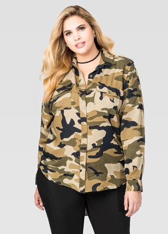 Camo Military Hi-Lo Shirt