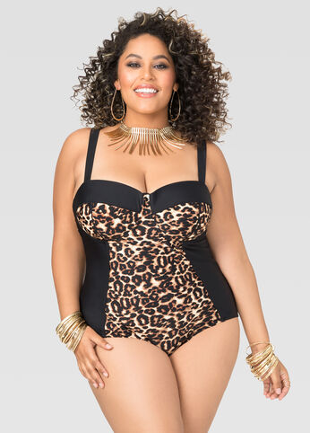 Leopard Underwire One Piece Swimsuit