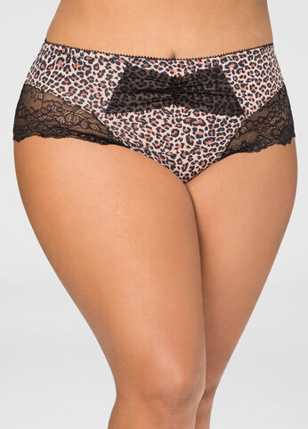 Lace Detail Leopard Hipster Panty