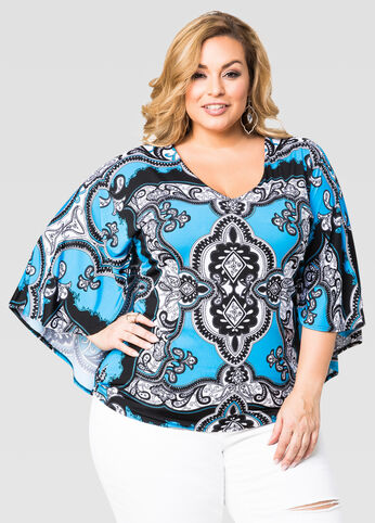Scarf Print Cape Top