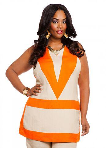 Linen Color Block Sleeveless Tunic