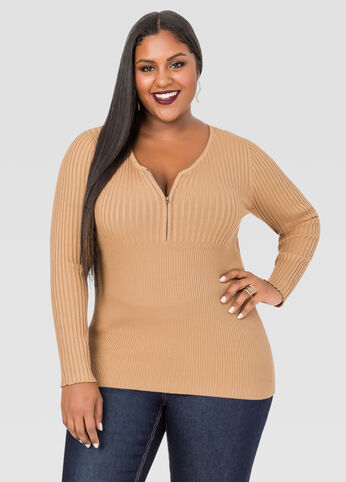 Zip Long Sleeve Ribbed Sweater