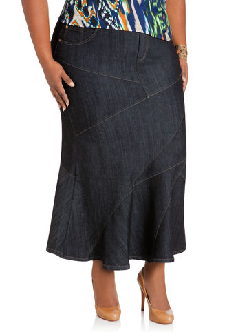 Pieced Long Denim Skirt