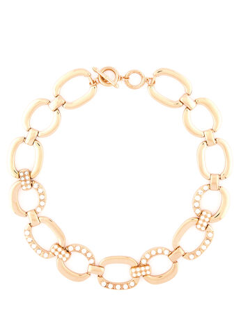 Pave Link Chain Collar Necklace