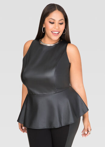 Zip Back Faux Leather Peplum Top