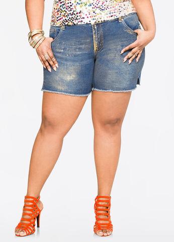 Metallic Paint Jean Shorts