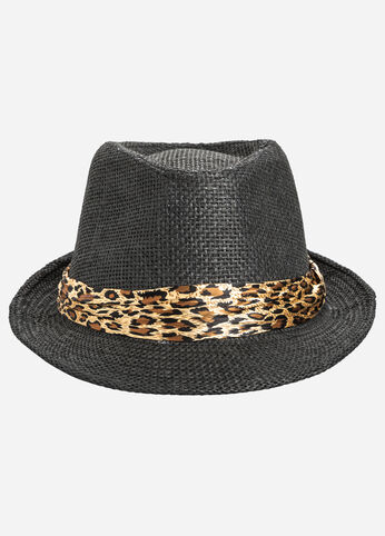 Animal Band Straw Fedora Hat
