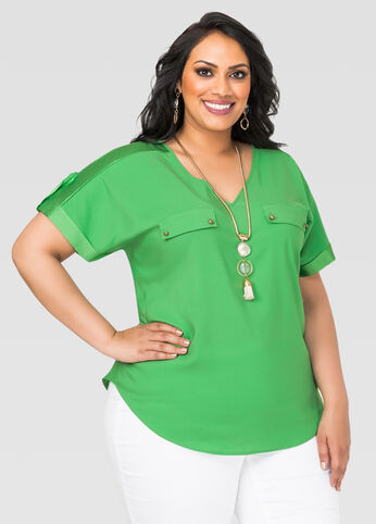 Sateen Trim V-Neck Blouse