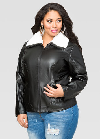 Quilted Sherpa Collar Moto Jacket