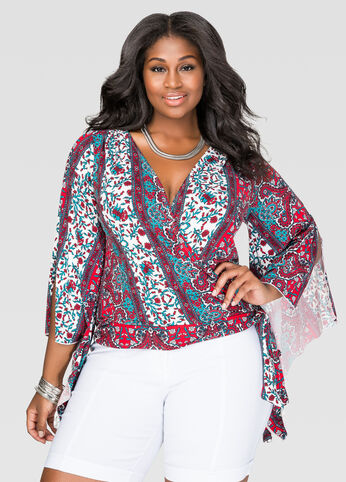 Printed Drama Sleeve Knot Top