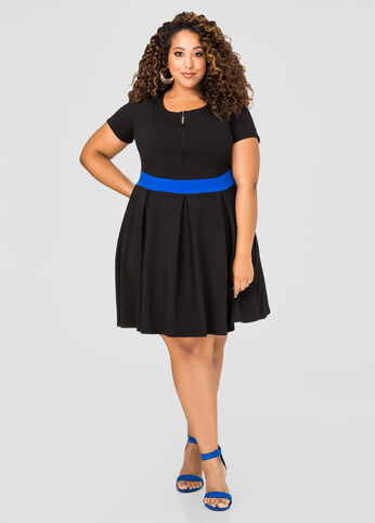 Contrast Zip Front Skater Dress
