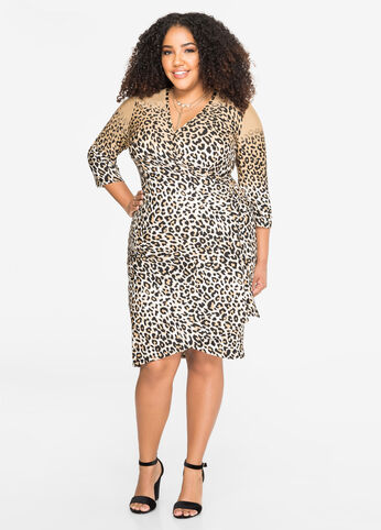 Animal Print Faux Wrap Dress
