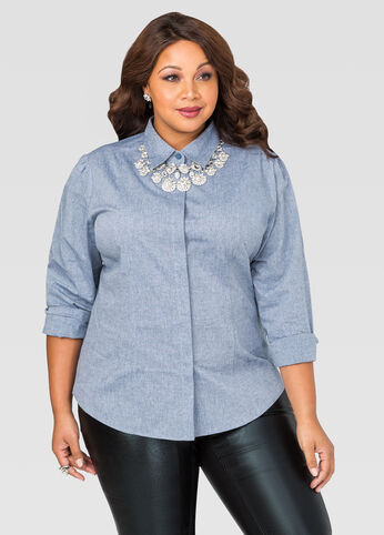 Chambray Multi Seam Button Front Shirt