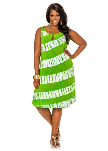 Tie Dye Keyhole Floater Dress