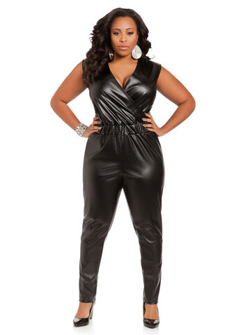 OE SURPLUS TOP PU JUMPSUIT