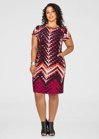 Chevron Dot Pocket Dress