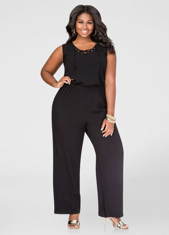 Lace-Up Wide Leg Jumpsuit