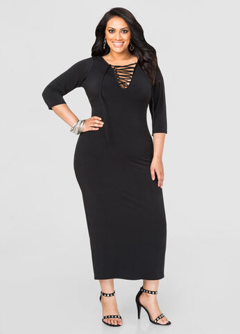 Plus Size Lace-Up Maxi Dress in Black - Front