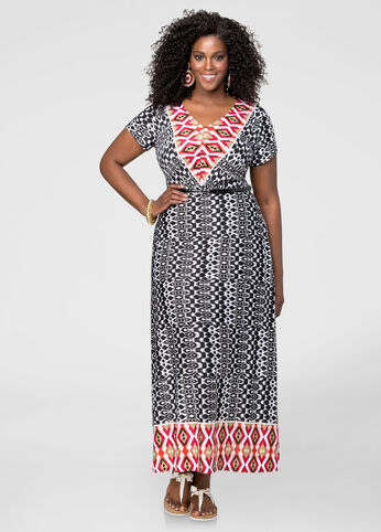 Belted Mixed Print Maxi Dress