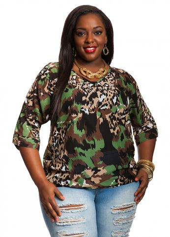 Camo Print Cold Shoulder Top