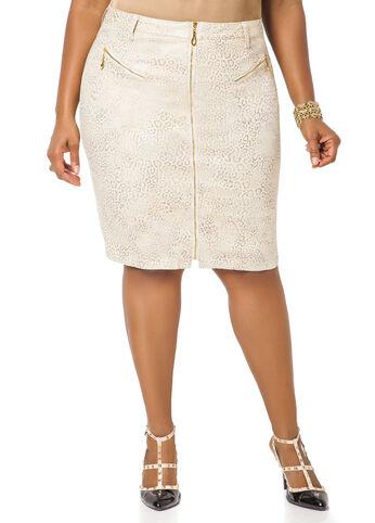 Zippered Gold Foil Skirt