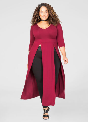 Double Slit V-Neck Duster Top