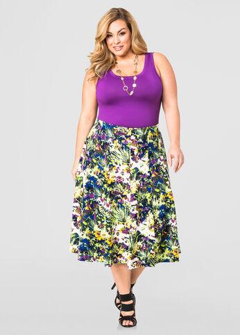 Floral Flare Midi Skirt