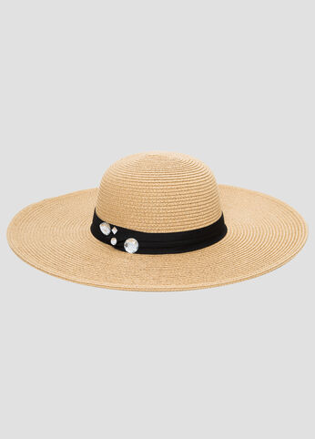 Stone Band Straw Floppy Hat