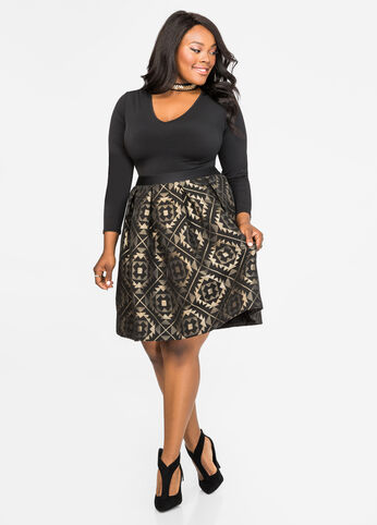 Geo Jacquard Box Pleat Skirt