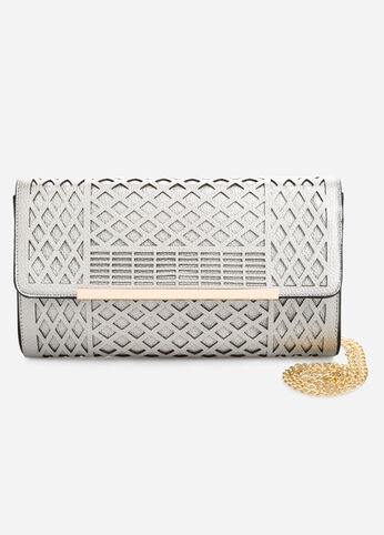 Metal Bar Laser Cut Shoulder Bag