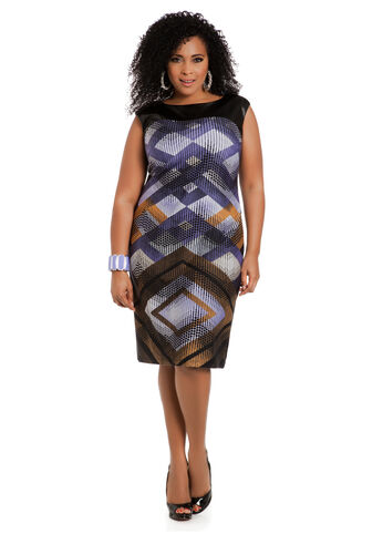 Faux Leather Yoke Geo Print Dress