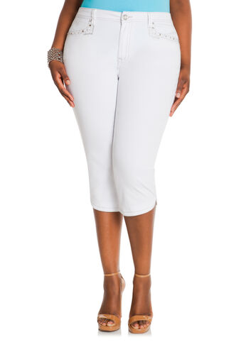 Angelina 21 inch Emroidered Capris