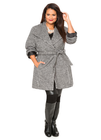 Textured Checkered Wrap Coat
