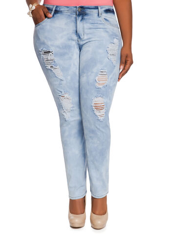 Ripped Cloud Wash Skinny Jeans