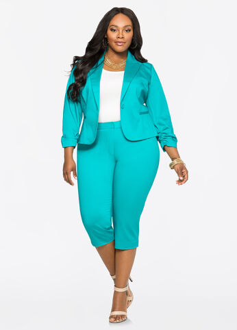 Cropped Plus Size Suit - Turq