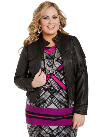 Smocked Waist Zip Up Jacket