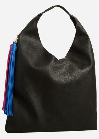 Hobo Shoulder Bag with Tassels