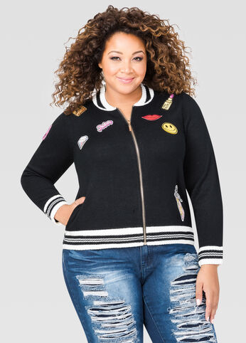 Patches Sweater Bomber Jacket