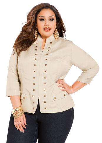 Studded Front Linen Blazer
